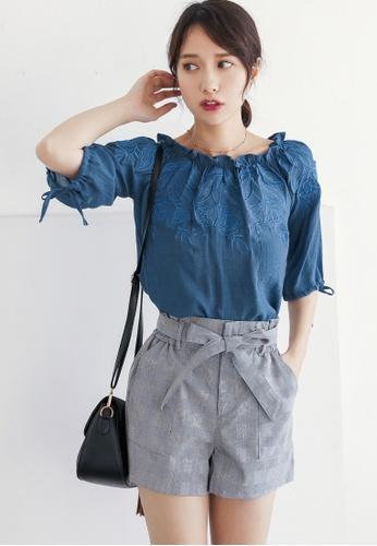Shopsfashion blue Boho Embroidery Blouse in Blue 276C8AA93572B7GS_1