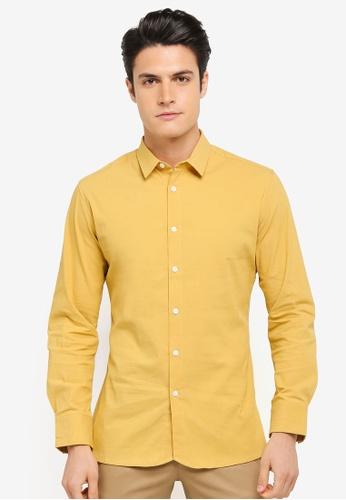 ZALORA yellow Curve Hem Slouchy Long Sleeve Shirt 1C4C8AAD229F5BGS_1
