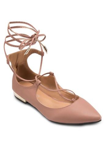 尖頭繫帶esprit 台北繞踝平底鞋, 女鞋, 鞋