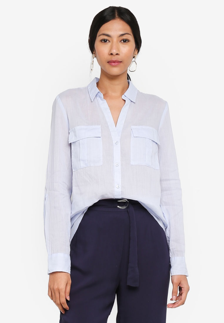 Blue Sleeve Long Pocket With OVS Sky Shirt nSawYv5q