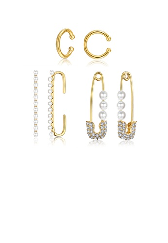 Glamorousky white Fashion Personalized Plated Gold Pearl Cubic Zircon Three-piece Earrings 167AFACE641FB4GS_1