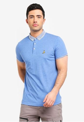 Brave Soul blue Split Hem Polo Shirt 09BBDAA1DAC40AGS_1