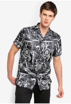 4d2ef272f River Island black Baroque Short Sleeve Shirt AD327AA7BE544BGS_1