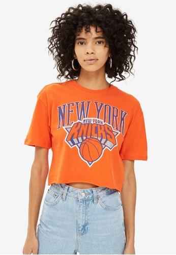 TOPSHOP orange Knicks Crop T-Shirt By Unk X Topshop E3470AA1889619GS_1