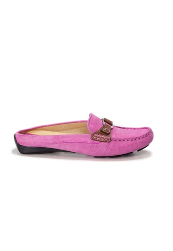 Shu Talk pink AMAZTEP Bi-colored Buckle Slip On Mule Loafers(for Wide Feet) 94D08SH0468639GS_1