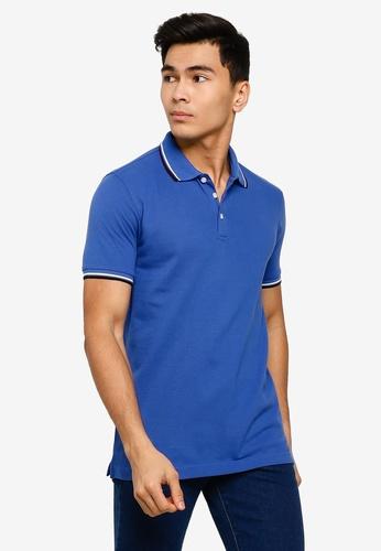 UniqTee 藍色 修身Fit Twin Tipped Polo 襯衫 B02DBAA2869408GS_1