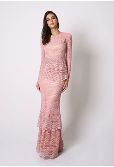 a996dde79 Jovian Luxe Tesalyn Pleated Lace Modern Kurung In Bluish Pink