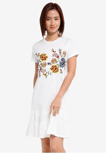 ZALORA white Floral Embroidery T Shirt Dress A066EAAEAEF1FBGS_1