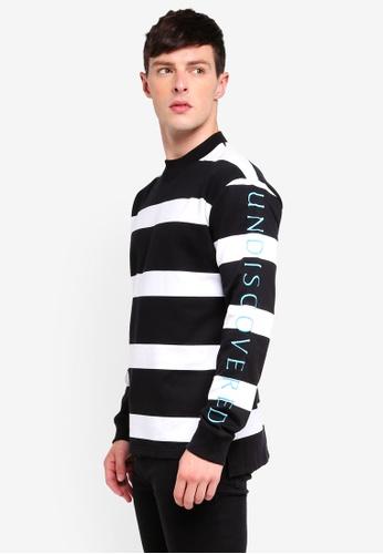 Topman 黑色 條紋刺繡棉T 285D8AAA71AB15GS_1