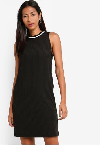 ZALORA BASICS black Basic Rib Contrast Dress DA3C9AA79C036EGS_1