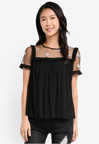 ZALORA black Sheer Top With Ruffle E8D4FAA0FB5F86GS_1