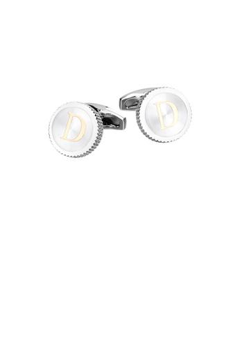Glamorousky silver Fashion Simple English Alphabet D Round Cufflinks 782EDACFD43DEEGS_1