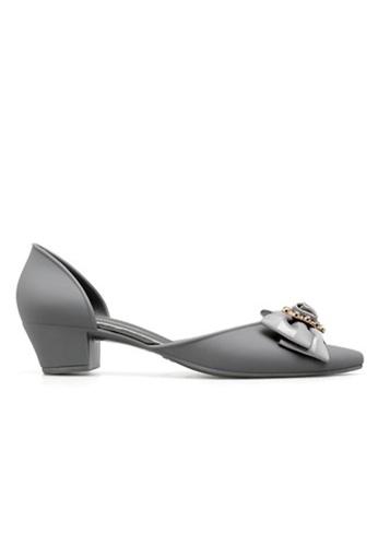 Halo 灰色 新款蝴蝶結尖頭防水膠鞋 54943SH70D5386GS_1