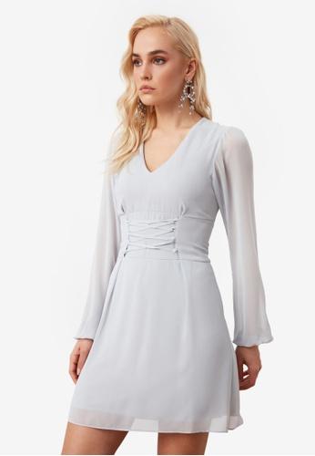 Trendyol grey Tie Detail Chiffon Dress F317BAACC6BE8DGS_1