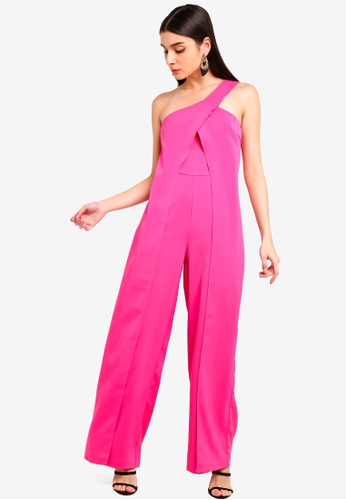 Lavish Alice pink One Shoulder Wrap Over Wide Leg Jumpsuit 08CC9AA5F761A1GS_1