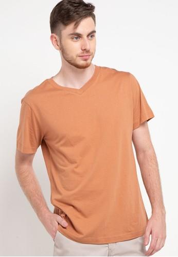 Tolliver brown V Neck Basic Short Sleeve Tee 60FEEAA0BA3A37GS_1
