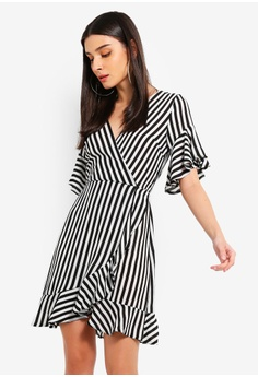 a4275e0f77 AX Paris black Black Striped Wrap Mini Dress 2CC51AAEA12405GS 1