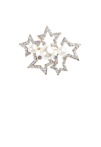 Glamorousky white Fashion and Simple Plated Gold Hollow Star Imitation Pearl Brooch with Cubic Zirconia 3A10BAC07B3DCAGS_1
