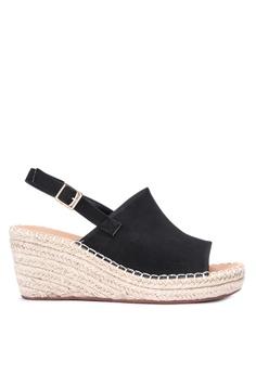 bc737122f4a Matthews black Beatrice Ankle Strap Wedge Sandals F8E2ASH4BEA393GS 1