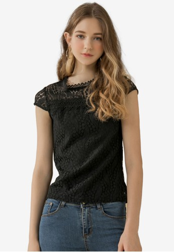 Eyescream black Mock Neck Lace Top 55466AABA80485GS_1