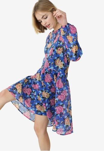 PIMKIE blue Babydoll Print Chiffon Dress 619FDAAB0118D4GS_1