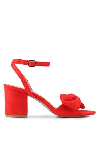 Public Desire red Lavish Bow Detail Block Heel Sandals PU378SH0SIPWMY_1