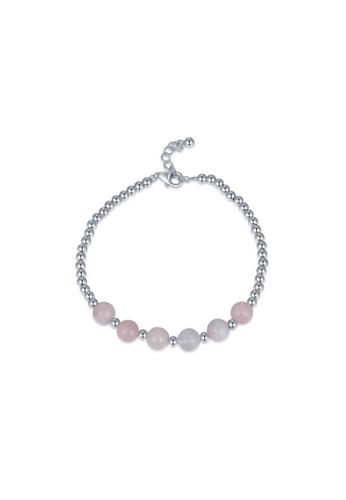 MBLife silver 925 Sterling Silver Pink Morganite Beads Bracelet 5D16CACEC059D6GS_1