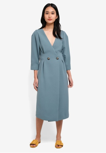TOPSHOP green Extended Shoulder Midi Dress 86E77AAE2D3D3DGS_1