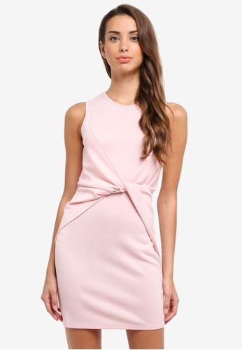 ZALORA pink Twist Panel Sleeveless Dress 09BC0AA4FF63EAGS_1