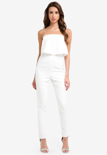 MISSGUIDED white Bandeau Double Layer Jumpsuit 0E18AAAA147A24GS_1