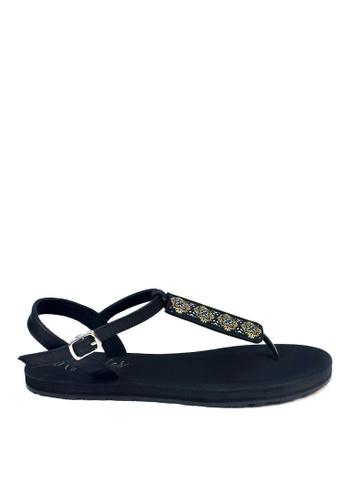 Ripples black Amaris Slide'N'Style T-Bar Sandals RI425SH0FQPBSG_1