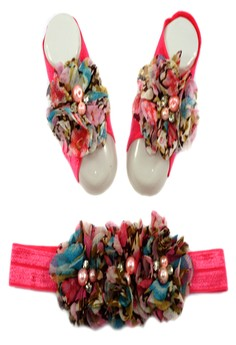 Baby Headband and Barefoot Sandals (Floral Printed) Salmon Set 0mons+