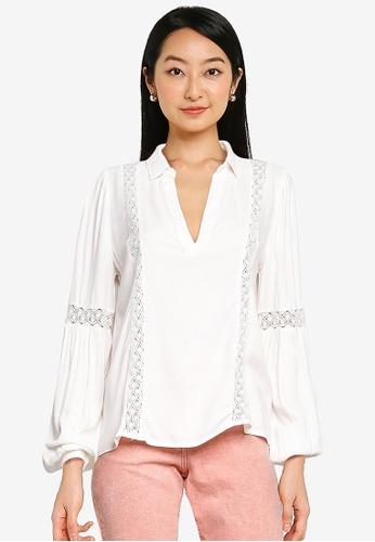 JACQUELINE DE YONG white Delhi Long Sleeves Lace Blouse 2D9F4AA6F47CADGS_1