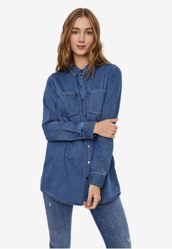 Vero Moda blue Mila Ls Long Shirt 39025AAE9B6E09GS_1