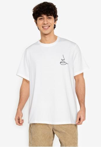 ZALORA BASICS white Lips Linework T-Shirt 59741AA98972B9GS_1