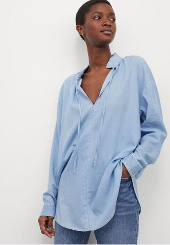 H&M blue Lyocell-Blend Blouse 09DC9AA4F44475GS_1