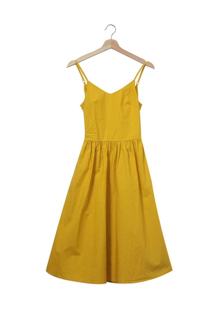 Slit Back Yellow Cutout Tie Tokichoi Dress fw0YqAfxr