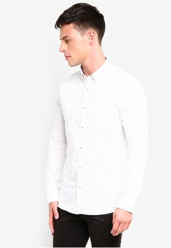Burton Menswear London 白色 White Mini Geometric Print Long Sleeve Oxford Shirt AFCE1AA3C68D0CGS_1