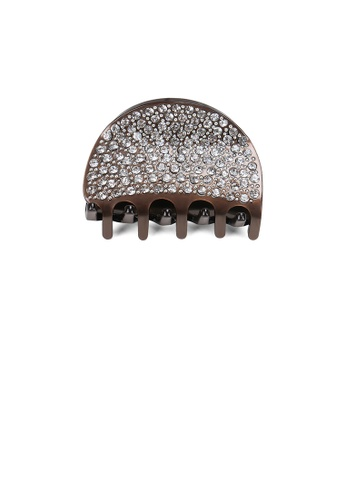 Glamorousky brown Simple and Bright Geometric Brown Hair Claw with White Cubic Zirconia 5C3C3AC154741EGS_1