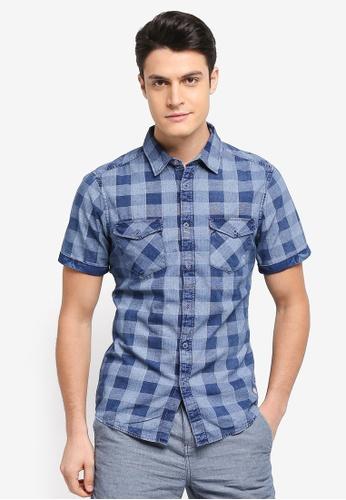 ESPRIT blue Woven Short Sleeve Shirt 60F2EAABE58A0DGS_1