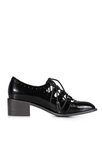 Sunnydaysweety 黑色 韓國正品簡約黑色綁帶牛皮鞋C04251 SU395SH09Y02TW_1