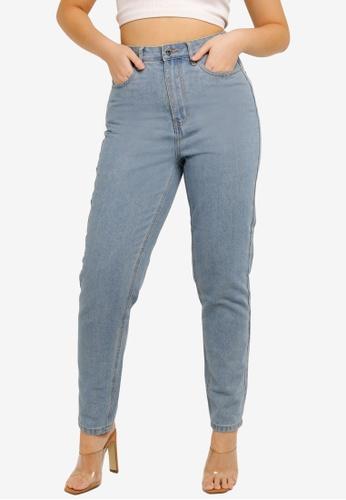 MISSGUIDED blue Mid Wash Riot Jeans 2687DAABC0B7EDGS_1