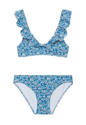 MANGO KIDS blue Floral Bikini With Ruffles C32C8KA77B9AA0GS_1