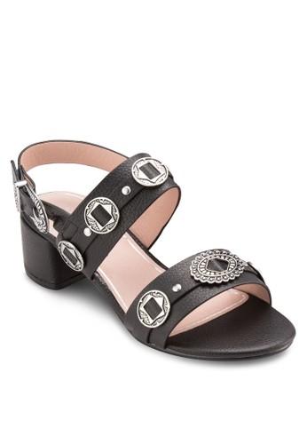 DANDY 西部風閃飾粗跟涼鞋,esprit outlet hk 女鞋, 鞋