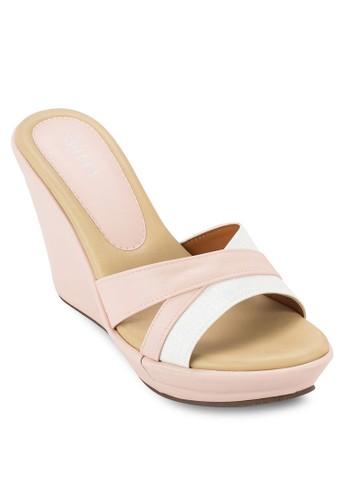 雙色交叉帶楔esprit童裝門市形涼鞋, 女鞋, 楔形涼鞋