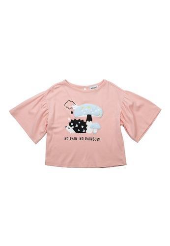 Vauva pink Vauva Girls Hedgehog and Mushroom Cotton Top - Pink 9FBB4KAF7068E0GS_1
