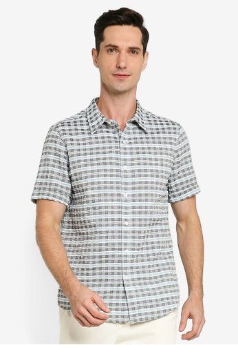ZALORA BASICS multi Checkered Short Sleeve Collar Shirt 6A9DDAA22BD6EFGS_1