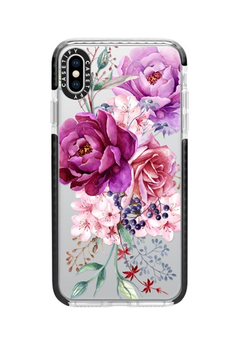 Casetify black and multi Purple Peony Watercolour Impact Case For iPhone XS Max - Black A11CDAC9A667ABGS_1