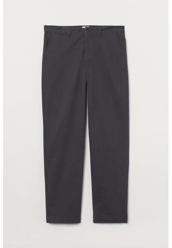 H&M grey Cotton chinos Regular Fit E889DAACBC563DGS_1