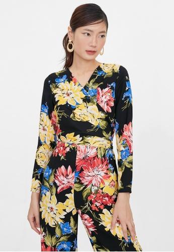 Pomelo black Waist Wrapped Floral Jumpsuit - Black 8940EAA40FF797GS_1
